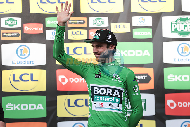 Race leader Maximilian Schachmann (GER) Bora-Hansgrohe also retains the Green Jersey on the podium at the end of Stage 6 of the 78th edition of Paris-Nice 2020, running 161.5km from Sorgues to Apt, France. 13th March 2020.<br /> Picture: ASO/Fabien Boukla | Cyclefile<br /> All photos usage must carry mandatory copyright credit (© Cyclefile | ASO/Fabien Boukla)