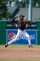 Batavia Muckdogs shortstop Demetrius Sims (3) throws to first base during a game against the West Virginia Black Bears on July 1, 2018 at Dwyer Stadium in Batavia, New York.  Batavia defeated West Virginia 8-4.  (Mike Janes/Four Seam Images)