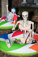 Life-sized skeletons are dressed up for Halloween decorations along Hillcrest Road in Belmont, Massachusetts, USA, on Mon., Oct. 30, 2017. A resident said the neighborhood has been doing similar coordinated decorations along the road for the previous 3 or 4 years.  In this image, the skeletons appear to be floating in innertubes and holding drinks in red Solo cups.