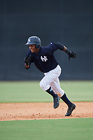 New York Yankees Evan Alexander (48) runs the bases during a Florida Instructional League game against the Pittsburgh Pirates on September 25, 2018 at Yankee Complex in Tampa, Florida.  (Mike Janes/Four Seam Images)