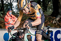 Wout van Aert (BEL/Jumbo - Visma) up the Kemmelberg cobbles <br /> <br /> 82nd Gent-Wevelgem in Flanders Fields 2020 (1.UWT)<br /> 1 day race from Ieper to Wevelgem (232km)<br /> <br /> ©kramon