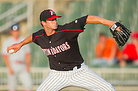 Ryan Buch #9 of the Kannapolis Intimidators in action against the Lakewood BlueClaws at Fieldcrest Cannon Stadium July 14, 2010, in Kannapolis, North Carolina.  Photo by Brian Westerholt / Four Seam Images