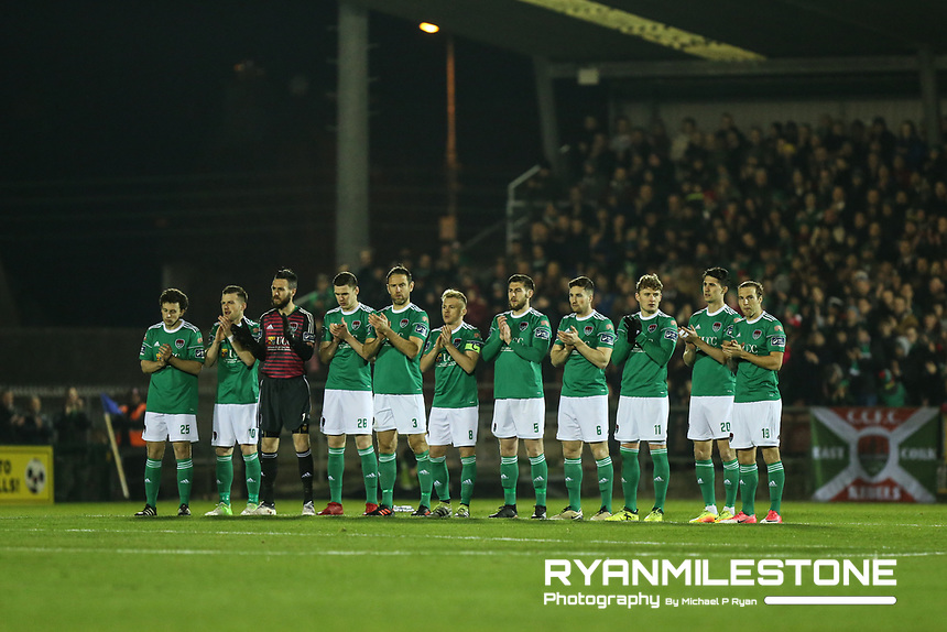 The Cork City Team during a minutes applause for the late Liam Miller at the start of the SSE Airtricity League Premier <br /> Division game between Cork City and Waterford FC on Friday 23rd February 2018 at Turners Cross. Photo By: Michael P Ryan