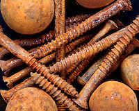 RUSTED BALLS & SCREWS<br /> Rapid Oxidation<br /> Oxide of iron formed by corrosion, an electrochemical reaction.  In moist conditions iron is rapidly oxidized by oxygen to form rust, a mixture of iron oxides.