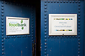 Entrance to Hammersmith & Fulham foodbank.  The foodbank operates under the umbrella of the Trussell Trust, a Christian charity.