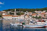 Boats in the beautiful Hvar Town harbor, Hvar Island, Croatia