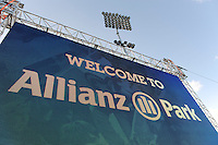 20130127 Copyright onEdition 2013©.Free for editorial use image, please credit: onEdition..Detail view of Allianz branding on the scoreboard at Allianz Park during the LV= Cup match between Saracens and Cardiff Blues at Allianz Park on Sunday 27th January 2013 (Photo by Rob Munro)..For press contacts contact: Sam Feasey at brandRapport on M: +44 (0)7717 757114 E: SFeasey@brand-rapport.com..If you require a higher resolution image or you have any other onEdition photographic enquiries, please contact onEdition on 0845 900 2 900 or email info@onEdition.com.This image is copyright onEdition 2013©..This image has been supplied by onEdition and must be credited onEdition. The author is asserting his full Moral rights in relation to the publication of this image. Rights for onward transmission of any image or file is not granted or implied. Changing or deleting Copyright information is illegal as specified in the Copyright, Design and Patents Act 1988. If you are in any way unsure of your right to publish this image please contact onEdition on 0845 900 2 900 or email info@onEdition.com