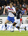 09/08/2008  Copyright Pic: James Stewart.File Name : sct_jspa03_falkirk_v_rangers.RUSSELL LATAPY GETS AWAY FROM SASA PAPAC.James Stewart Photo Agency 19 Carronlea Drive, Falkirk. FK2 8DN      Vat Reg No. 607 6932 25.Studio      : +44 (0)1324 611191 .Mobile      : +44 (0)7721 416997.E-mail  :  jim@jspa.co.uk.If you require further information then contact Jim Stewart on any of the numbers above........