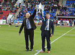 St Johnstone v Celtic...13.08.14  SPFL<br /> John MacGregor of The Binn Group (left) pictured with Chairman Steve Brown and the Scottish Cup prior to kick off<br /> Picture by Graeme Hart.<br /> Copyright Perthshire Picture Agency<br /> Tel: 01738 623350  Mobile: 07990 594431