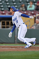 Omaha Storm Chasers second baseman Humberto Arteaga (13) swings at a pitch against the Colorado Springs Sky Sox at Werner Park on April 5, 2018 in Omaha, Nebraska. The Sky Sox won 3-1.  (Dennis Hubbard/Four Seam Images)