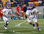 Troy Reh (#10) picks up a ground ball as UAlbany Men's Lacrosse defeats Richmond 18-9 on May 12 at Casey Stadium in the NCAA tournament first round.
