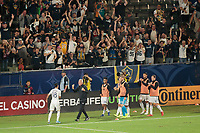CARSON, CA - SEPTEMBER 15: Uriel Antuna #18 of the Los Angeles Galaxy celebrates a goal with his teammates during a game between Sporting Kansas City and Los Angeles Galaxy at Dignity Health Sports Complex on September 15, 2019 in Carson, California.