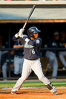 Martin Peguero #6 of the Pulaski Mariners at bat against the Bluefield Blue Jays at Bowen Field on July 1, 2012 in Bluefield, West Virginia.  The Mariners defeated the Blue Jays 4-3.  (Brian Westerholt/Four Seam Images)