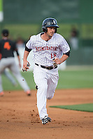 Grant Massey (18) of the Kannapolis Intimidators hustles towards third base against the Delmarva Shorebirds at Kannapolis Intimidators Stadium on April 21, 2016 in Kannapolis, North Carolina.  The Intimidators defeated the Shorebirds 9-3.  (Brian Westerholt/Four Seam Images)
