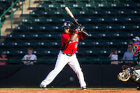 Eduard Pinto (2) of the Hickory Crawdads at bat against the Savannah Sand Gnats at L.P. Frans Stadium on June 14, 2015 in Hickory, North Carolina.  The Crawdads defeated the Sand Gnats 8-1.  (Brian Westerholt/Four Seam Images)