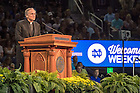 August 19, 2016; Notre Dame president Rev. John I. Jenkins, C.S.C. speaks at the Official University Welcome Event, Welcome Weekend 2016. (Photo by Matt Cashore/University of Notre Dame)