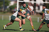 Siopi Tavo looks to break through Gene Te-Amo's tackle. Counties Manukau Premier Club Rugby game between Pukekohe and Manurewa, played at Colin Lawrie Fields, Pukekohe, on Saturday May 28th, 2016. Pukekohe won the game 62 - 18 after leading 19 - 10 at halftime. Photo by Richard Spranger.