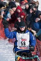 Rachael Scdoris team leaves the start line during the restart day of Iditarod 2009 in Willow, Alaska