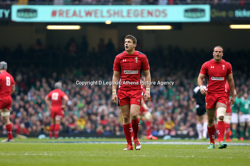 Pictured: Dan Biggar of Wales Saturday 14 March 2015<br /> Re: RBS Six Nations, Wales v Ireland at the Millennium Stadium, Cardiff, south Wales, UK.