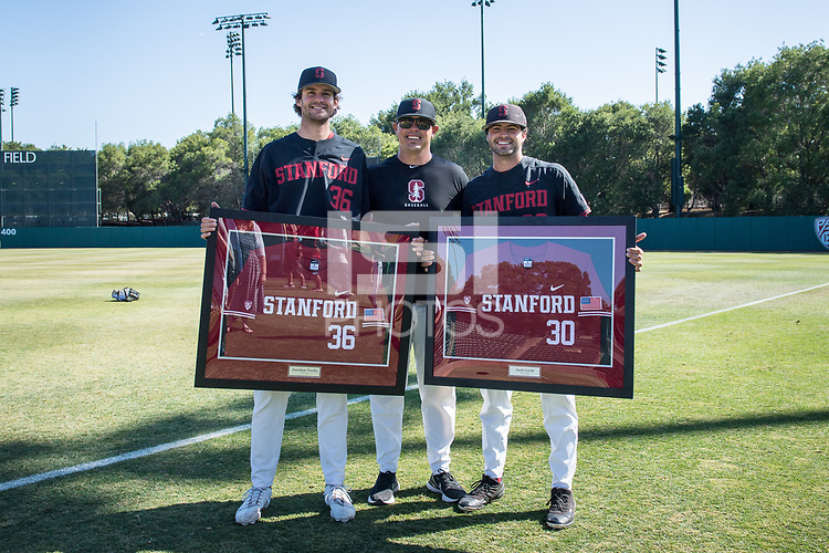 STANFORD, CA - MAY 29: Jonathan Worley, Thomas Eager, Zach Grech after a game between Oregon State University and Stanford Baseball at Sunken Diamond on May 29, 2021 in Stanford, California.