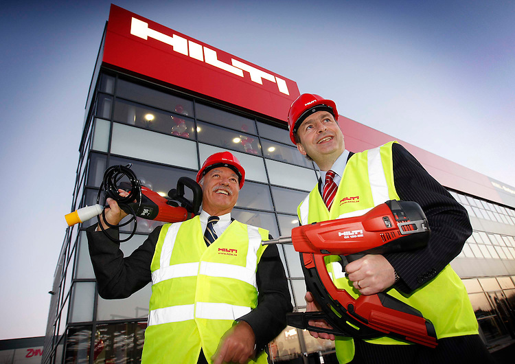 Minister for Enterprise, Trade and Employment Micheal Martin T.D. (left) and Michael Hilti, Board of Directors, Hilti Group (right), pictured here at the official opening of the new Hilti Ireland headquarters in North City Business Park, Dublin. Pic. Robbie Reynolds