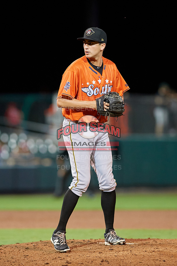 Bradenton Marauders pitcher Daniel Zamora (12) during the Florida State League All-Star Game on June 17, 2017 at Joker Marchant Stadium in Lakeland, Florida.  FSL North All-Stars defeated the FSL South All-Stars  5-2.  (Mike Janes/Four Seam Images)