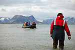 A zodiac carrying students prepares to land on a beach in eastern Greenland. The students are part of the Cape Farewell Youth Expedition that was organized by the British Council of Canada.