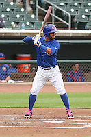 Iowa Cubs infielder Jonathan Mota (5) at bat during a Pacific Coast League game against the Colorado Springs Sky Sox on May 10th, 2015 at Principal Park in Des Moines, Iowa.  Iowa defeated Colorado Springs 14-2.  (Brad Krause/Four Seam Images)