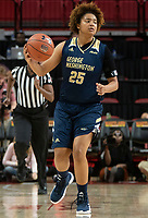 COLLEGE PARK, MD - NOVEMBER 20: Ariel Stephenson #25 of George Washington moves up court during a game between George Washington University and University of Maryland at Xfinity Center on November 20, 2019 in College Park, Maryland.