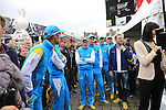 Astana Pro Team at the Team Presentations in Compiegne before the 2015 Paris-Roubaix cycle race held over the cobbled roads of Northern France. 11th April 2015.<br /> Photo: Eoin Clarke www.newsfile.ie