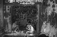 Myanmar street scenes in 1996 Repair shop in 1996 Yangon.
