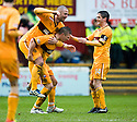 MOTHERWELL'S SHAUN HUTCHINSON IS CONGRATULATED AFTER HE SCORES MOTHERWELL'S THIRD GOAL