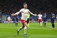 Timo Werner of RB Leipzig celebrates but his effort was ruled out for offside during RB Leipzig vs Tottenham Hotspur, UEFA Champions League Football at the Red Bull Arena on 10th March 2020