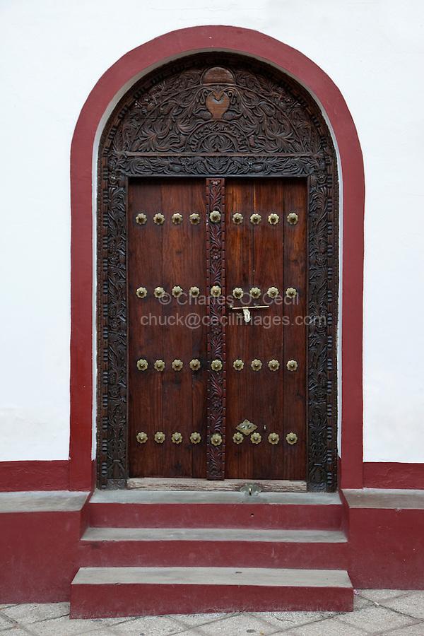 Stone Town, Zanzibar, Tanzania.  Indian-style door on an Ibadhi mosque.