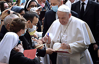 Pope Francis public audience at the San Damaso courtyard in The Vatican on June 2, 2021.