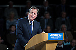 © Joel Goodman - 07973 332324 . 28/03/2015 . Manchester , UK . Prime Minister DAVID CAMERON speaks at the Conservative Party Spring Forum at the Old Granada Studios , Quay Street , Manchester . Photo credit : Joel Goodman