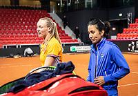 The Hague, The Netherlands, Februari 4, 2020,  Sportcampus , FedCup  Netherlands - Balarus, Dutch team practise, Kiki Bertens with her coach Elisa Tamaela<br /> Photo: Tennisimages/Henk Koster