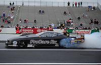 Jun. 1, 2012; Englishtown, NJ, USA: NHRA pro mod driver Leah Pruett during qualifying for the Supernationals at Raceway Park. Mandatory Credit: Mark J. Rebilas-