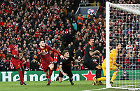 Liverpool's Andrew Robertson's headed effort hits the crossbar<br /> <br /> Photographer Rich Linley/CameraSport<br /> <br /> UEFA Champions League Round of 16 Second Leg - Liverpool v Atletico Madrid - Wednesday 11th March 2020 - Anfield - Liverpool<br />  <br /> World Copyright © 2020 CameraSport. All rights reserved. 43 Linden Ave. Countesthorpe. Leicester. England. LE8 5PG - Tel: +44 (0) 116 277 4147 - admin@camerasport.com - www.camerasport.com