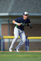 Vermont Lake Monsters first baseman Chris Iriart (18) during a game against the Batavia Muckdogs August 9, 2015 at Dwyer Stadium in Batavia, New York.  Vermont defeated Batavia 11-5.  (Mike Janes/Four Seam Images)