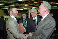 Montreal (qc) CANADA - file Photo - 1992 - <br /> Union des Municipalites du Quebec convention in April - Raymond LItalien, UMQ General Manager (directeur general) (L)<br />  ,Ralph Mercier, UMQ President and Mayor of Charlesbourg (M) ,Claude Ryan, Quebec Minister of Municipal Affairs