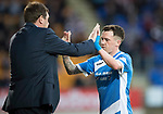 St Johnstone v Hearts 17.05.17     SPFL    McDiarmid Park<br />Danny Swanson high fives Tommy Wright as he is subbed<br />Picture by Graeme Hart.<br />Copyright Perthshire Picture Agency<br />Tel: 01738 623350  Mobile: 07990 594431