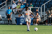 HARTFORD, CT - JULY 10: Omar Sowe #67 of New York Red Bulls II passes the ball during a game between New York Red Bulls II and Hartford Athletics at Dillon Stadium on July 10, 2021 in Hartford, Connecticut.
