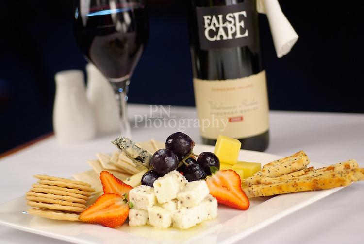 Kangaroo Island Cheese Platter with a bottle of False Cape Cab Sav red wine