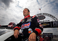 Sept. 1, 2013; Clermont, IN, USA: NHRA pro stock driver Greg Anderson during qualifying for the US Nationals at Lucas Oil Raceway. Mandatory Credit: Mark J. Rebilas-
