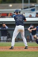 Jake Pries (36) of the Pulaski Yankees at bat against the Burlington Royals at Burlington Athletic Stadium on August 25, 2019 in Burlington, North Carolina. The Yankees defeated the Royals 3-0. (Brian Westerholt/Four Seam Images)