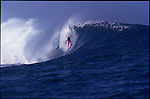 Teahupoo, Tahiti. May 2000. A surfer making the drop  during the GOTCHA PRO 2000 at Teahupoo.