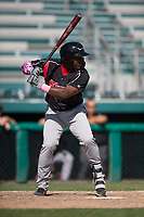 Lake Elsinore Storm designated hitter Jorge Ona (13) at bat during a California League game against the Modesto Nuts at John Thurman Field on May 13, 2018 in Modesto, California. Lake Elsinore defeated Modesto 4-3. (Zachary Lucy/Four Seam Images)