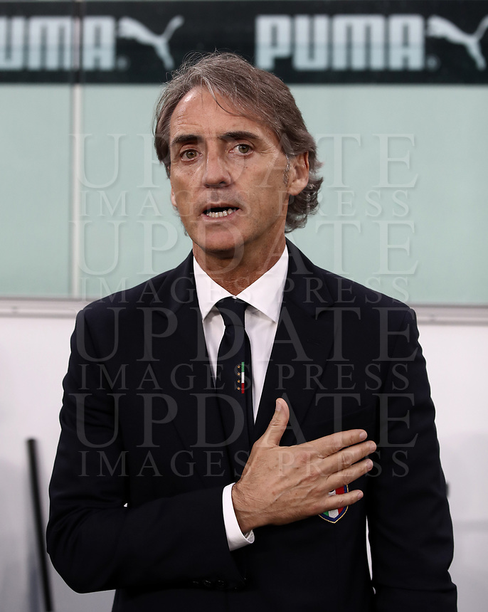 International friendly football match Italy vs The Netherlands, Allianz Stadium, Turin, Italy, June 4, 2018. <br /> Italy's national team coach Roberto Mancini sings the Italy national anthem prior to the international friendly football match between Italy and The Netherlands at the Allianz Stadium in Turin on June 4, 2018.<br /> UPDATE IMAGES PRESS/Isabella Bonotto