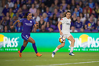 Orlando, FL - Saturday March 24, 2018: Utah Royals forward Kelley O'Hara (5) dribbles away from Orlando Pride forward Sydney Leroux (2) during a regular season National Women's Soccer League (NWSL) match between the Orlando Pride and the Utah Royals FC at Orlando City Stadium. The game ended in a 1-1 draw.